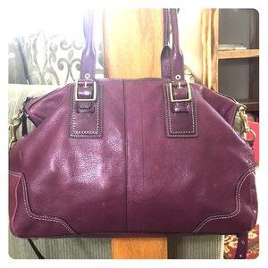 💕 Coach purple soft leather xl satchel nice 💕